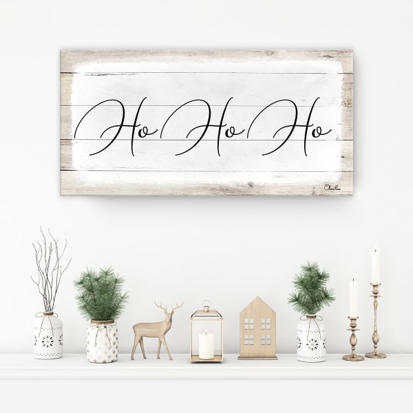 Ho-Ho-Ho White Holiday Canvas Wall Art