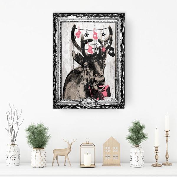 Jingles Beige Holiday Canvas Wall Art
