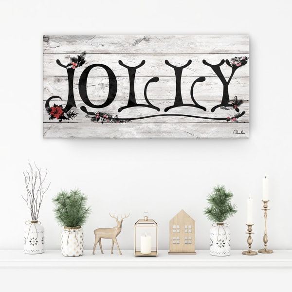 Jolly Beige Holiday Canvas Wall Art