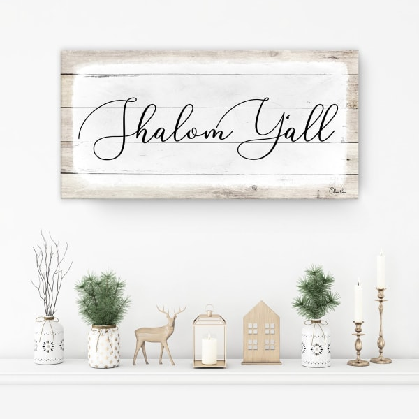 Shalom Y'all White Hanukkah Canvas Wall Art