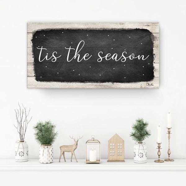 Tis the Season Black Holiday Canvas Wall Art