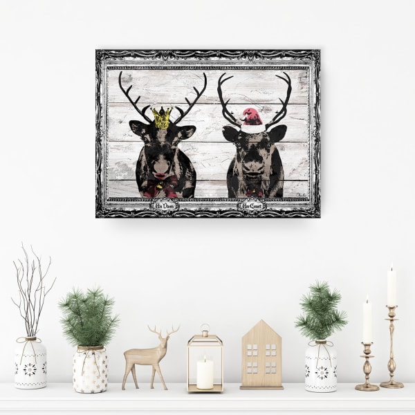 Vixen & Comet Beige Holiday Canvas Wall Art