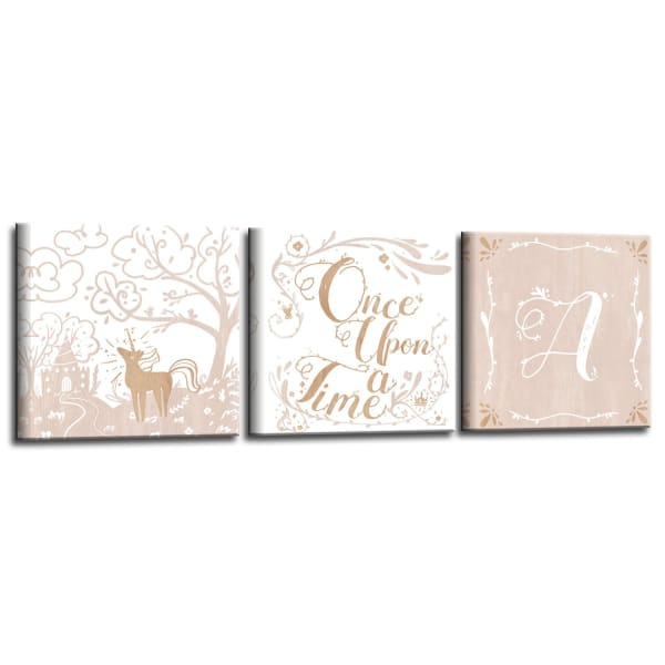 Once Upon a Time 3-Pc Canvas Monogram Nursery Wall Art Set - H