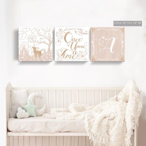 Once Upon a Time 3-Pc Canvas Monogram Nursery Wall Art Set - I