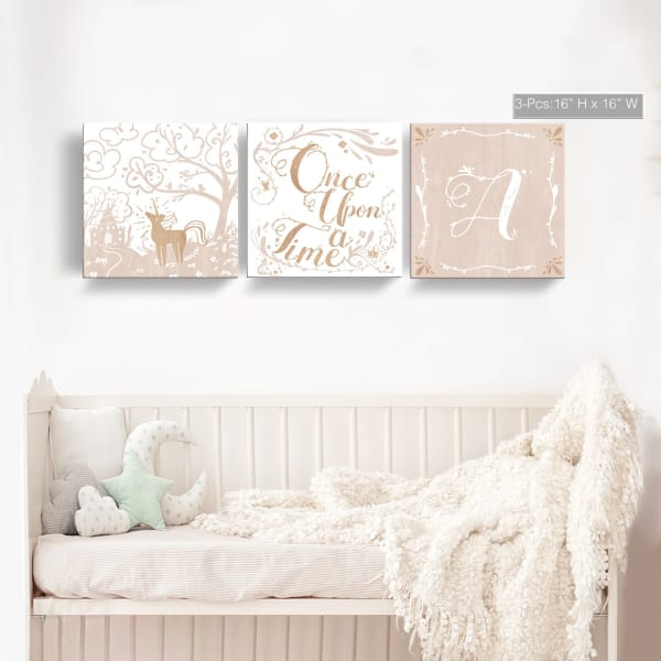 Once Upon a Time 3-Pc Canvas Monogram Nursery Wall Art Set - L