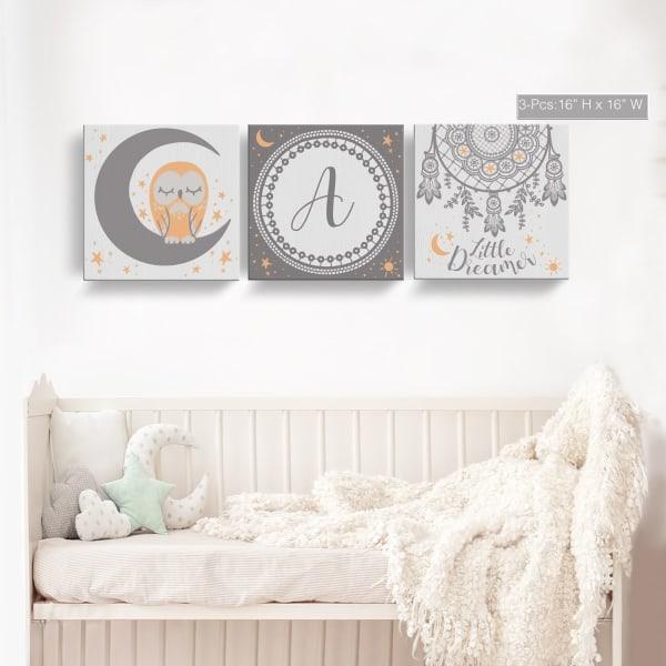 Little Dreamer 3-Pc Canvas Monogram Nursery Wall Art Set - F