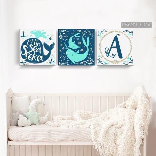 Sea Seeker 3-Pc  Canvas Monogram Nursery Wall Art Set - J