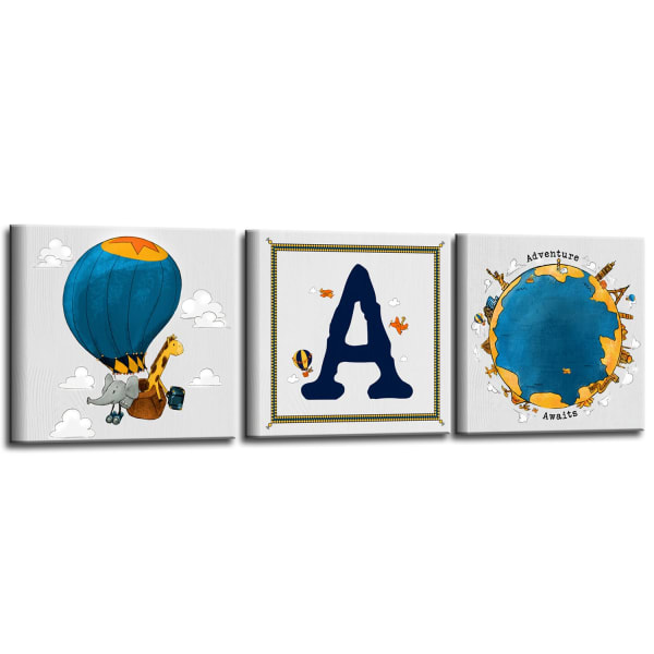 Sea Seeker 3-Pc Canvas Monogram Nursery Wall Art Set - S