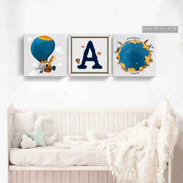 Sea Seeker 3-Pc Canvas Monogram Nursery Wall Art Set - U
