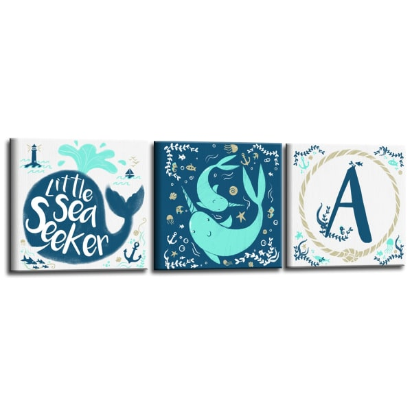 Sea Seeker 3-Pc Canvas Monogram Nursery Wall Art Set - V