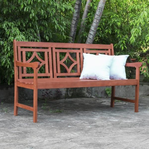 5-foot Brown Eucalyptus Wood Outdoor Bench