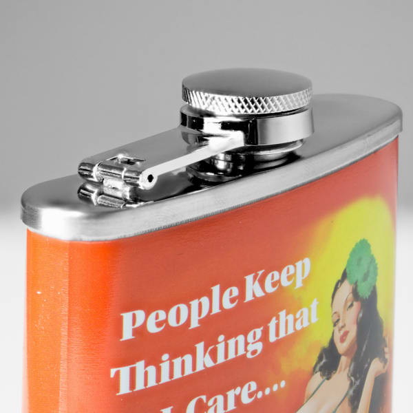 """""""People Keep Thinking that I Care…Weird"""" Stainless Steel 8 oz Liquor Flask"""