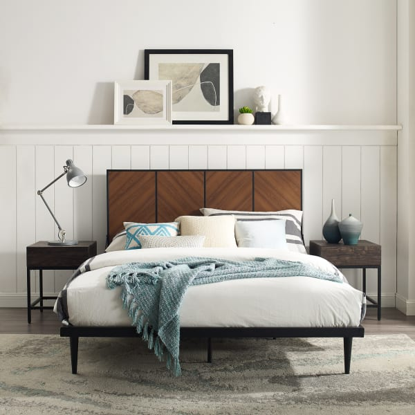 4 Panel Metal and Wood Queen Platform Bed - Acorn Bookmatch
