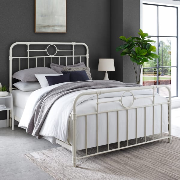Metal Pipe Queen Bed - Antique White