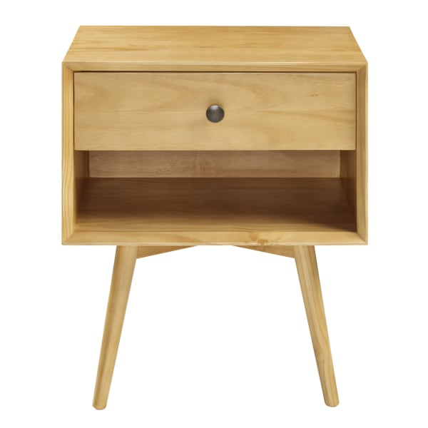 Mid Century 1 Drawer Solid Wood Nightstand Light Oak Pier - Solid Oak Side Table With Drawers