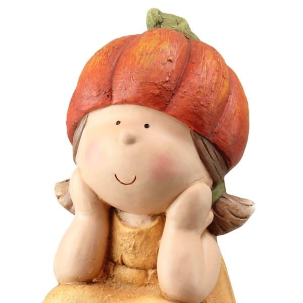 Orange and Yellow Fall Harvest Sitting Pumpkin Girl Tabletop Decor