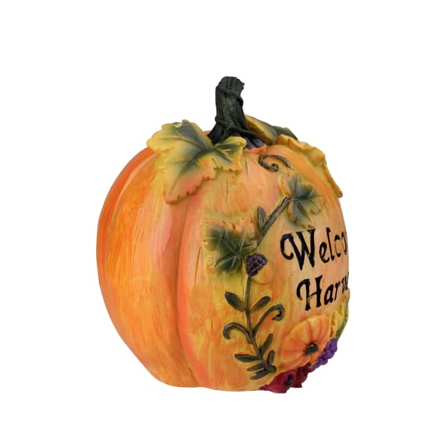 Orange and Green Floral Welcome Harvest Thanksgiving Tabletop Figure
