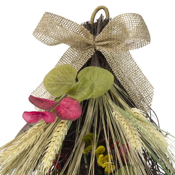 Autumn Harvest Wheat and Eucalyptus with Feathers Teardrop Swag - Unlit