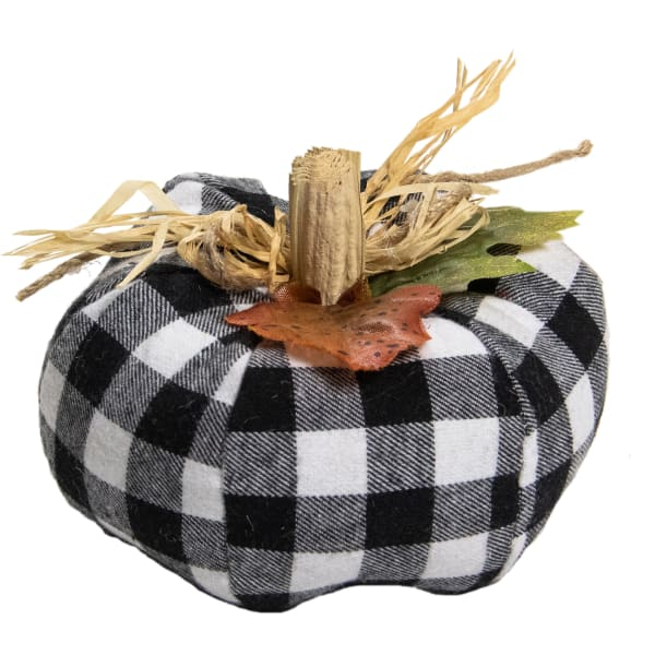 White and Black Plaid Fall Harvest Tabletop Pumpkin