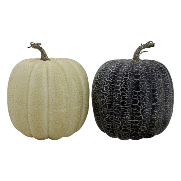 Set of 2 Black and Beige Fall Harvest Tabletop Pumpkins With a Brown Stem