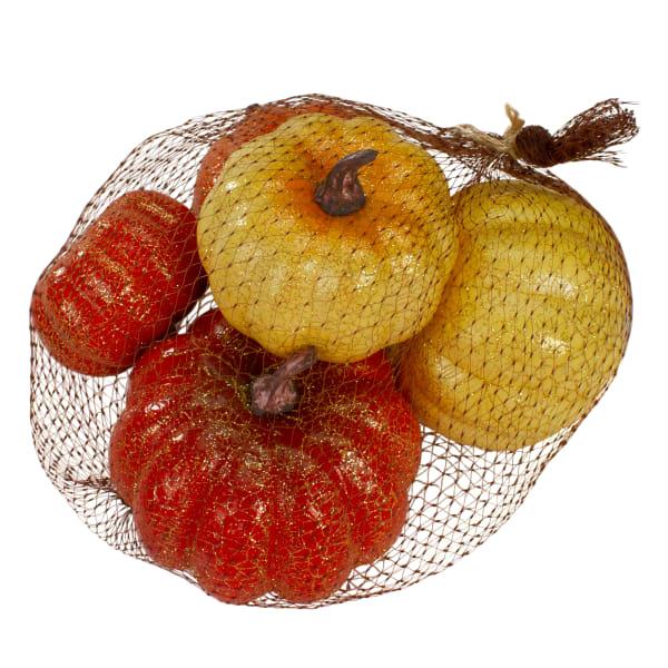 Set of 5 Artificial Pumpkins Fall Harvest Tabletop Decor