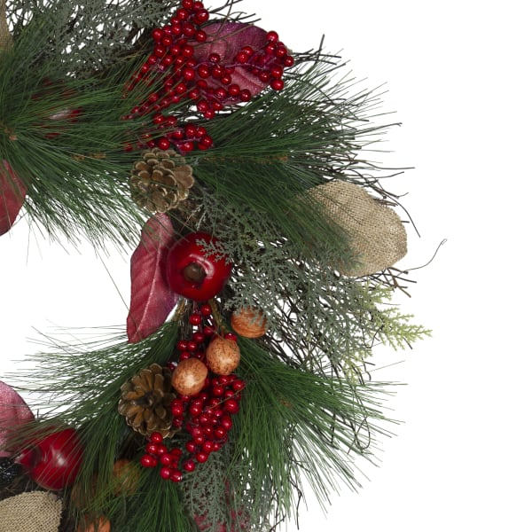 Autumn Harvest Mixed Berry  Pine and Nut Thanksgiving Fall Wreath - Unlit