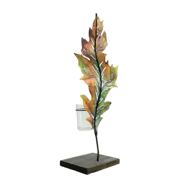 Green and Brown Autumn Harvest Leaf Votive Candle Holder
