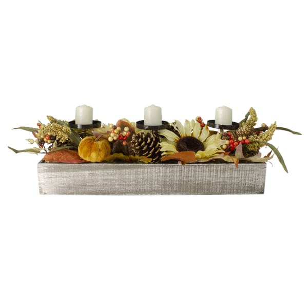 Autumn Harvest Sunflower 3-Piece Candle Holder in a