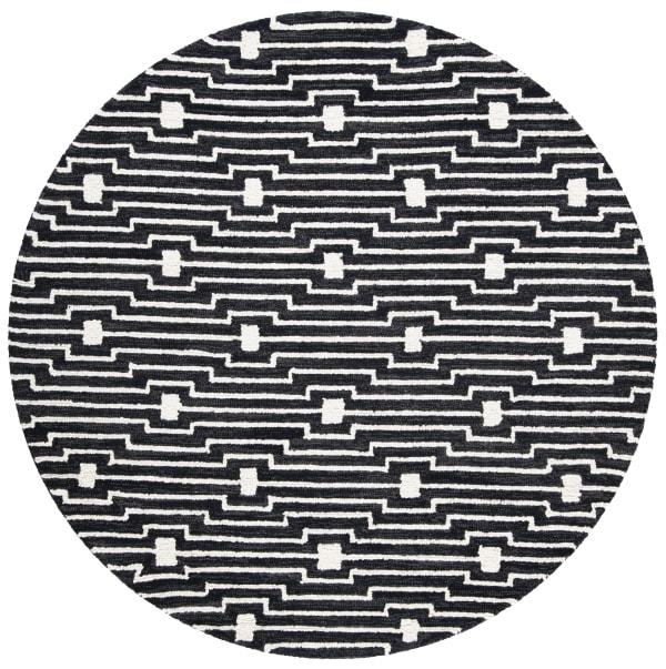 Essence Black Wool Rug 5' Round