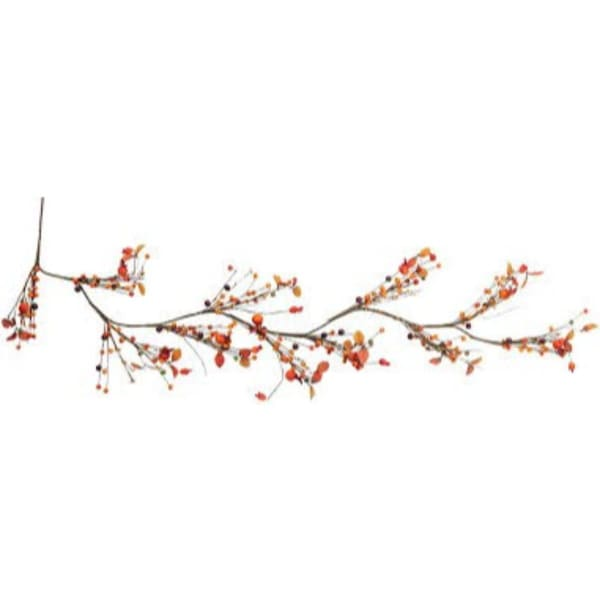 Autumn Harvest Berries and Leaves Rustic Twig Artificial Thanksgiving Garland - Unlit