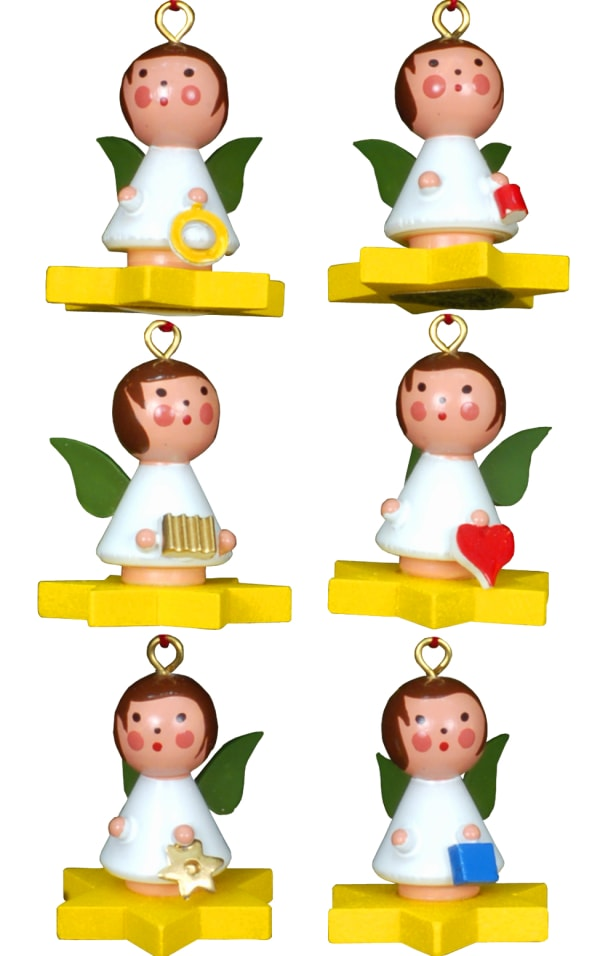 Christian Ulbricht Ornament - Assortment of 6 Angels on Stars