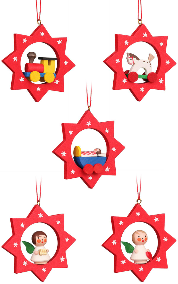 Christian Ulbricht Ornament - Assorted Stars with toys - set 6