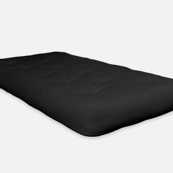 Double Foam Twin Futon 75 In. x 39 In. in Black Mattress