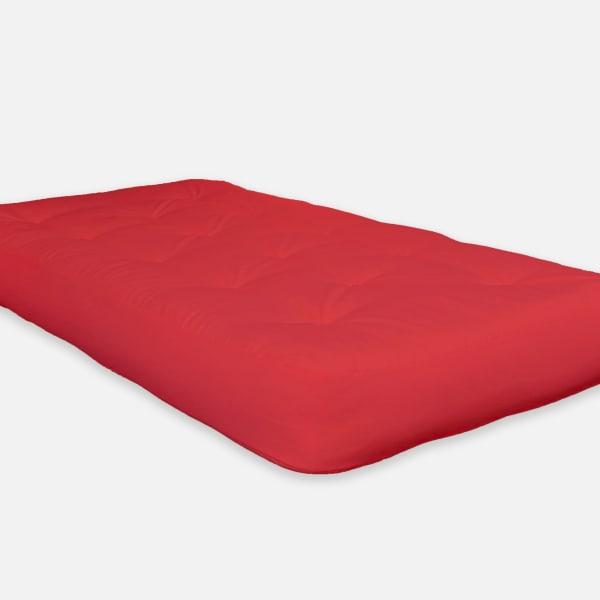 Double Foam Twin Futon 75 In. x 39 In. in Red Mattress