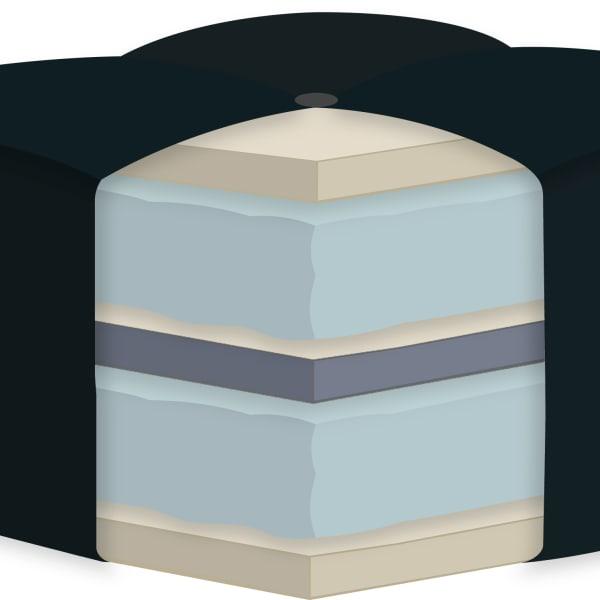 Khaki Double Poly Single Foam Full Futon 75 In. x 54 In. in Tan Mattress