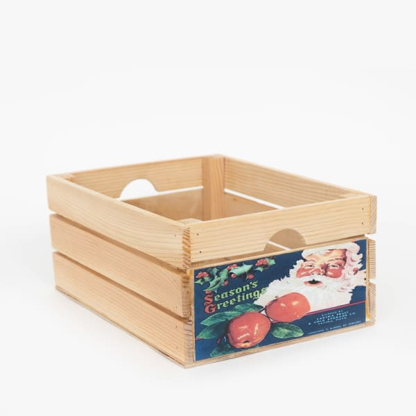 Vintage Style Wood Holiday Crate Season Apple