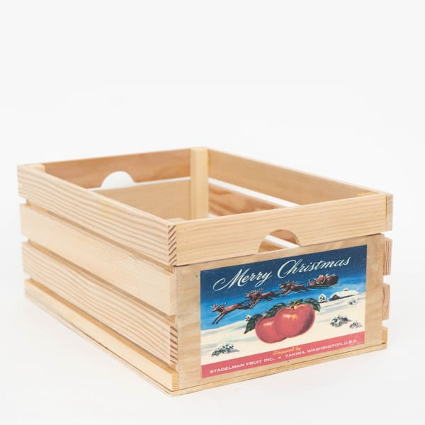 Vintage Style Wood Fruit Crate Christmas Apple