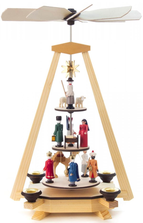 Pyramid with nativity scene, Wisemen, and shepherd on 3 different levels
