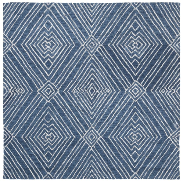 Blue Wool Rug Round 5'