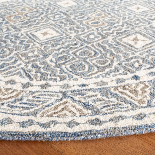Essence Blue Wool Round Rug 5'