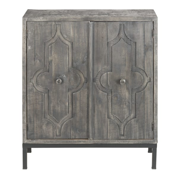 Wood 2-Door Console Metal Base Cabinet Charcoal Gray