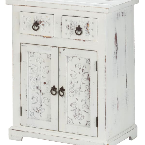Wood Loft Carved 2-Drawer 2-Door Cabinet White Distressed
