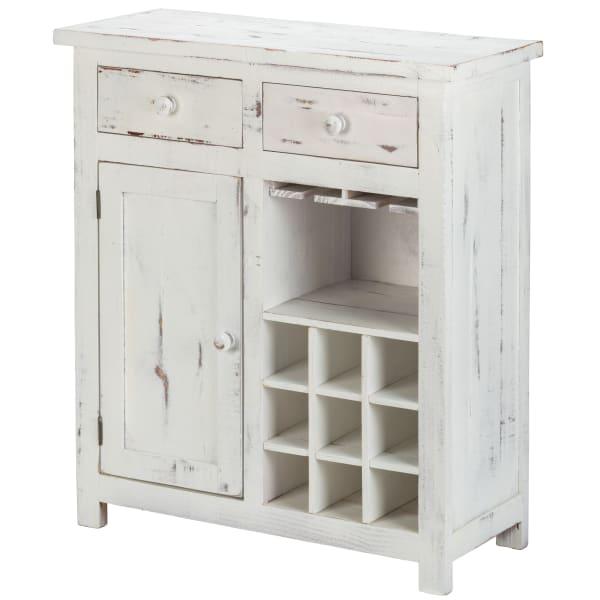 Wood Loft Small Wine Rack Cabinet White Distressed