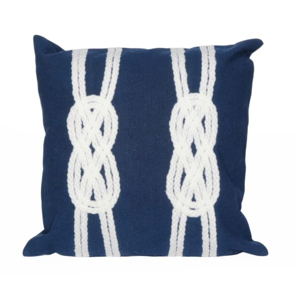 Double Knot Navy Outdoor Pillow