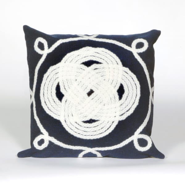 Ornamental Knot Navy Outdoor Pillow