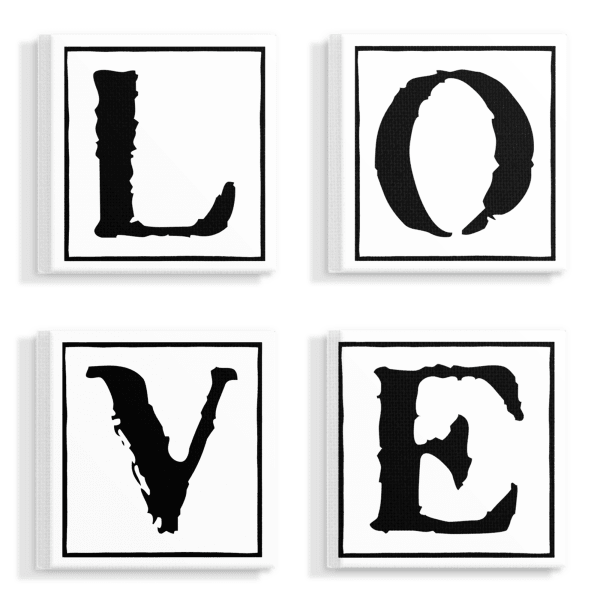 Love 4 Piece Stretched Canvas