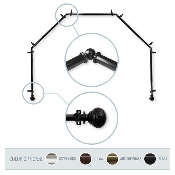 Black  5-Sided Bay Window Curtain Rod