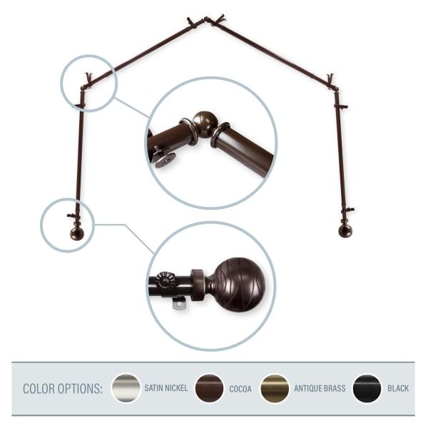 Cocoa 4-Sided Bay Window Curtain Rod
