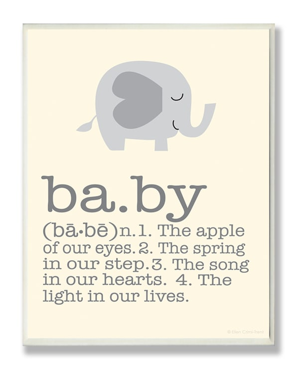 Baby Definition Elephant Wood Plaque Wall Art