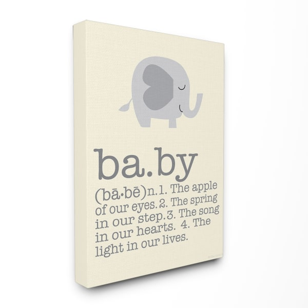 Baby Definition Elephant Wood Plaque